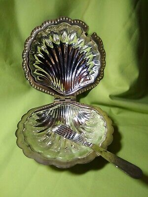 Vintage LEONARD SILVERPLATE CLAM SHELL SHAPED BUTTER DISH GLASS INSERT & KNIFE