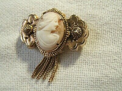 Antique Victorian Carved Cameo Pin Brooch W Tassels Beautiful Quality