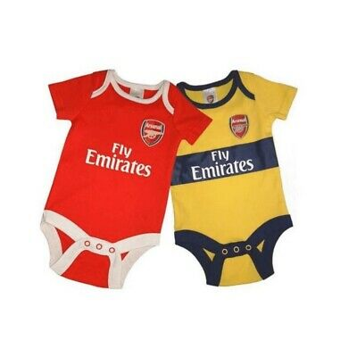 Arsenal F.C 2 Pack Baby Bodysuit Vests Official 18-19 Season 0-3 to 12-18 Months