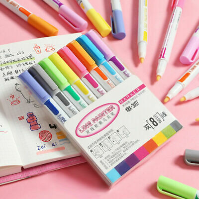 8 Color Gift Card Writing & Drawing Double Line Outline Pen Two-line Color Pen
