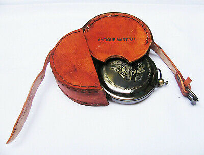 Vintage Collectible Nautical Rose London Pocket Compass With Leather Case GIFT