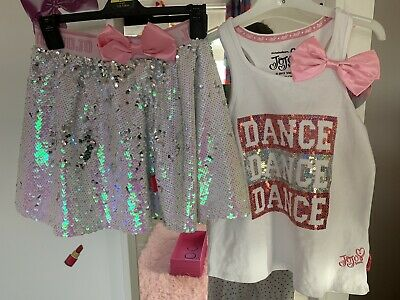 Primark Jojo Siwa Pink Reversible Sequin Skirt And Vest Age 7-8 New Bow