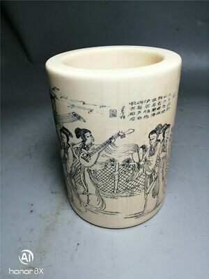 """5.51""""Exquisite Chinese resin Handmade carving character pattern brush pot"""