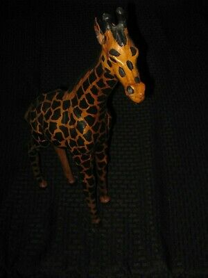 Vintage Leather Wrapped Giraffe Figure Statue