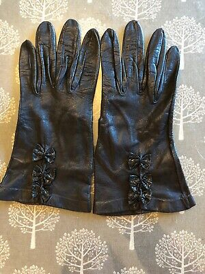 Ladies MILORE Black Leather Vintage Gloves Size 6.5