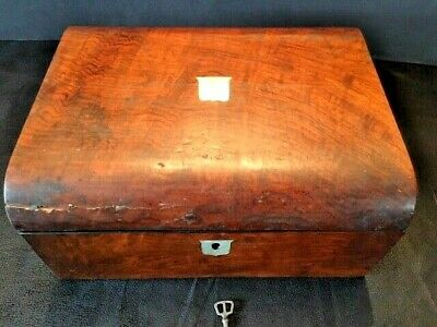 Antique Victorian Walnut Writing Slope 1800's Box Lap Desk handmade