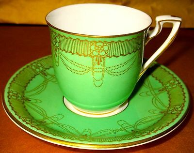 Royal Worcester Stunning Antique Art Deco Scarce Apple Green Gold Cup & Saucer