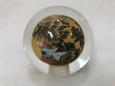 """Chinese Reverse Painted Landscape Art Glass Ball Paperweight, 3 1/4"""" x 3 1/4"""""""