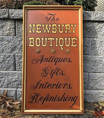 Antique Wood The Newbury Boutique Store Advertising Sign Painted Hanging