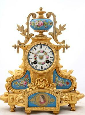 Antique French Mantle Clock 8 Day Stunning Gilt Metal & Hand Painted Porcelain