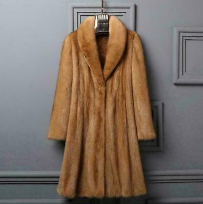 New Synthetic Mink Fur Long Ladies Coat Lapel Thick Winter Jacket Warm Parka Sz