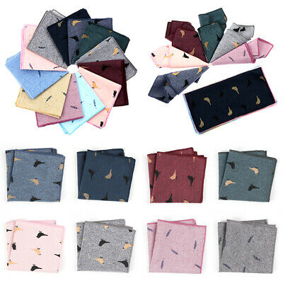 Party Pocket Square Birds Feather Pattern Cotton Handkerchief Business Casual