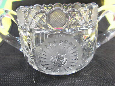 Stunning Glass Twin Handle Bowl - Frosted Etched Design Heavy 618 Grams # 494