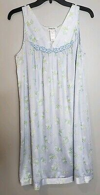 Vintage Vanity Fair Nylon Nightgown Blue Floral Style 30-107 Size S/36