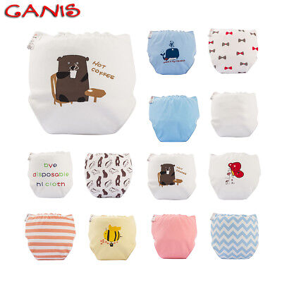 Newborn Baby Washable Reusable Soft Cotton Nappy Cover Waterproof Cloth Diaper@