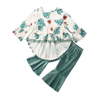 2Pcs Toddler Kids Baby Girls Ruffle Tops T-Shirts+Pants Leggings Outfits Clothes