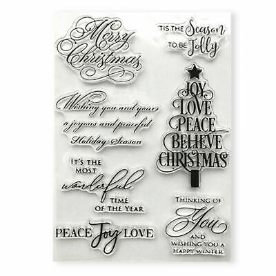 Silicone Clear Stamp Transparent Rubber Stamps DIY Scrapbook Christmas Tree New