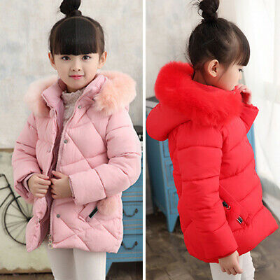Girls Down Coat Hooded Padded Quilted Pocket Fluffy Puffer Winter Warm Jacket