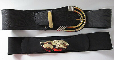 Vintage 1980s Genuine Black Embossed Leather Wide Belt & Stretch Belt