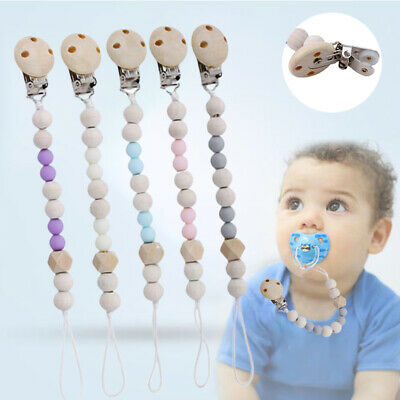 Dummy Chain Wooden Material Kids Pacifier Holder Clip Nursing Teether Hottest FA