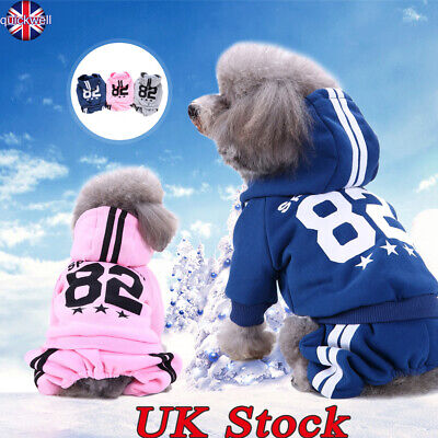 Pet Dog Jumper Hoodie Coat Jacket Warm Clothes Puppy Sport Apparel Costume UK