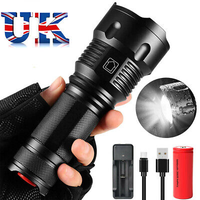 Zoomable T6 LED Torch Tactical Military Torches Super Bright Powerful Lumens UK
