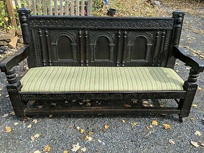 Antique English Gothic Style Carved Oak Monks Bench / Hall Bench / Table