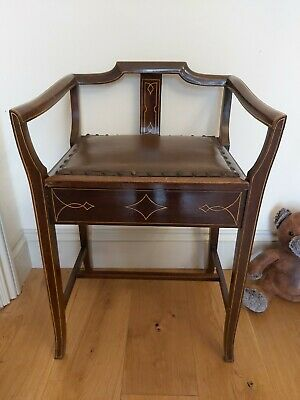 Edwardian piano stool chair leather music sheet storage seat & arms / back rest