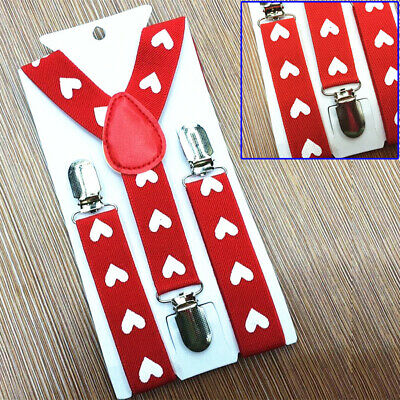 Boys Kids Children Printed Stretchy Belt Clip-on Y-back Wedding Party Suspenders