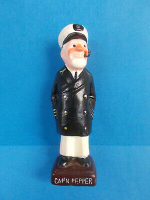 LOVELY SHIPS CAPTAIN PEPPER SHAKER - WITH PIPE AND RUBBER STOPPER 16 cm H # 199