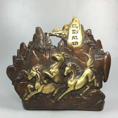 """7.87"""" Exquisite Chinese red copper gilt Handmade carving Horse statue Figurines"""