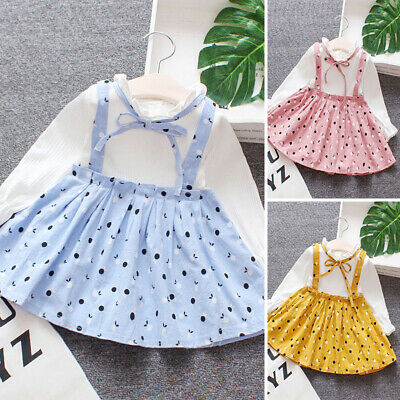 Cute Infant Baby Girl Autumn Clothes Floral Shirt  Suspender Skirt Dress Outfits