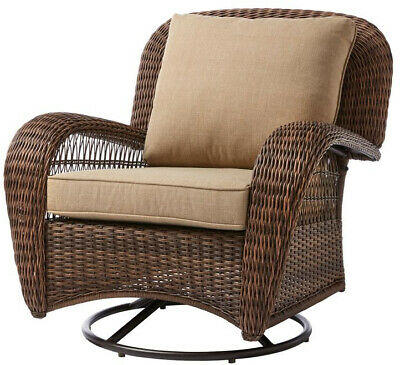 Enjoyable Hampton Bay Beacon Park Wicker Outdoor Ottoman With Toffee Caraccident5 Cool Chair Designs And Ideas Caraccident5Info