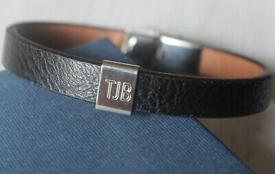Mens Personalised Christmas Gift Black Leather Bracelet with FREE Engraving