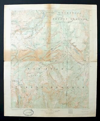 San Cristobal Colorado Antique 1907 USGS Topographic Map San Juan Mountains Topo