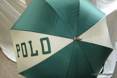 90's Vtg Ralph Lauren Green White Stripe POLO Varsity Golf Umbrella Wood Handle