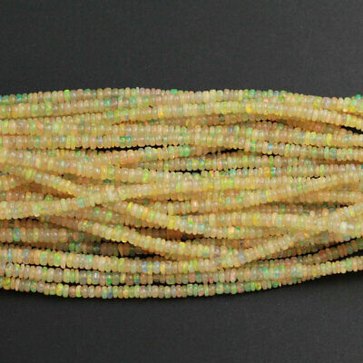 Real Ethiopian Opal Beads Bright Yellow Rondelle
