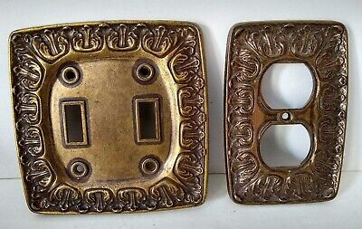 Metal Double Switch Cover Single Outlet Wall Plate Vintage Bronze Colored