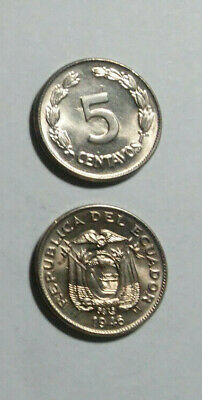 Ecuador Uncirculated Coin Pair, 5 Cents & 100 Sucre