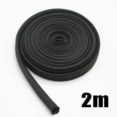 1pc Heat Protector Woven Sleeve Black Spark Plug Wire High Temp 1200F 2 Meters