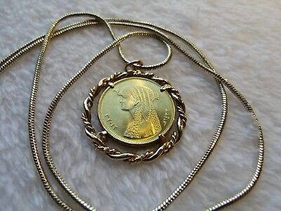 "Cleopatra Twisted Rope Gold Filled Coin Pendant on a 24"" 18k Gold Filled Chain"