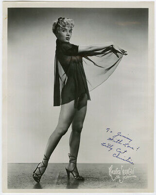 Burlesque Cat Girl Lilly Christine Original 1950s Autographed Pin-Up Photograph