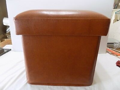 Square Tan Leather Foot Stool    Vintage Storage  (R3-12)