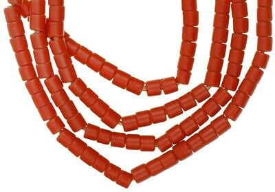 Old African trade beads Bohemian Czech glass beads red tile necklace Ghana trade