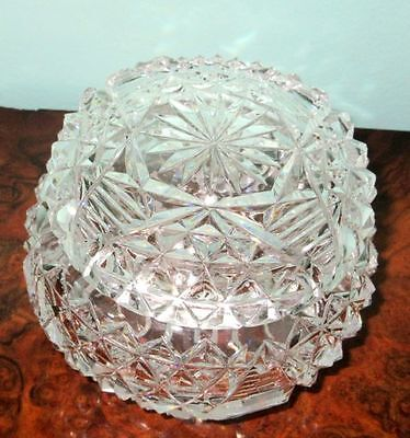 American Antique Large Brilliant Period Hand Cut Crystal Powder Jar Late 1800s
