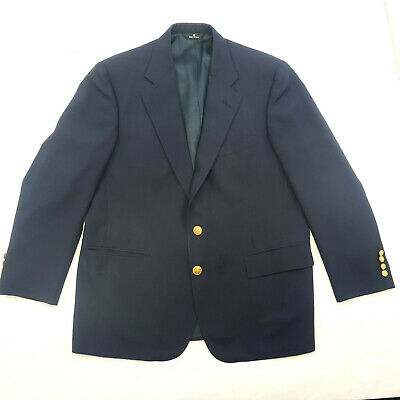 44 Polo University Club By Ralph Lauren Gold Button Blazer Suit Jacket Navy