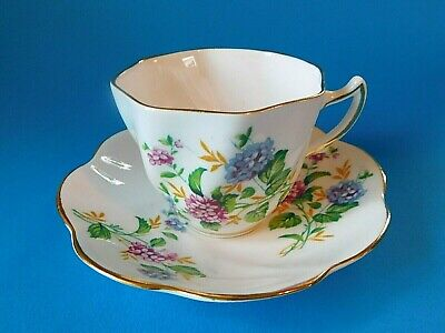 Lovely Clare Made in England Bone China Tea Cup/Saucer Blue Purple Set Hydrangea