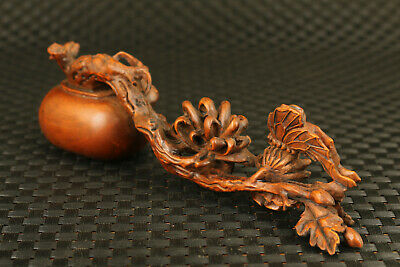 rare Chinese old boxwood hand carved potting chrysanthemum statue noble gift