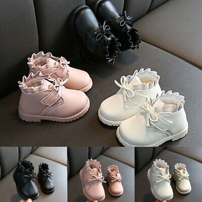 Winter Toddler Baby Girls Butterfly-knot Warm Short Boots Booties Leather Shoes