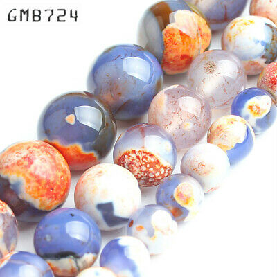 Stone Beads Orange Blue Fire Agates Round Loose Spacer Beads for jewelry making